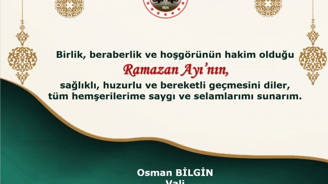 Kırklareli Valisi Osman Bilgin Ramazan Ayını Kutladı